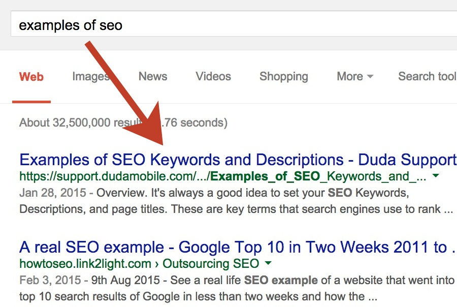 Search Engine Results (SERP) Page Meta Description and Title